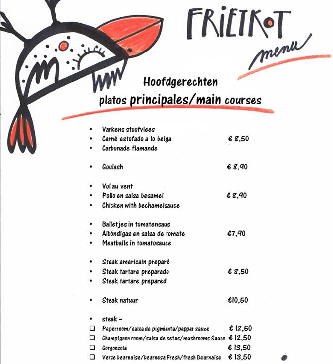 Frietkot menu