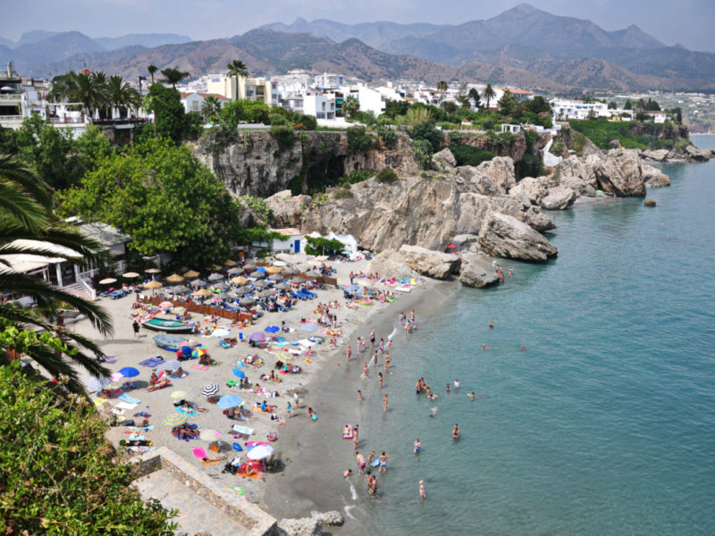 Beach closed in Nerja
