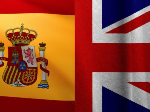 spanish and uk flag